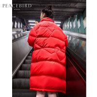 太平鸟中长款工装羽绒服女2019冬季新款爆款红色白鸭绒立领面包服