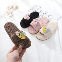 儿童棉拖鞋男童女童秋冬卡通可爱毛毛拖室内保暖宝宝地板拖棉