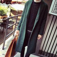 秋冬男士长款风衣青年纯色羊毛呢子大衣男装翻领休闲时尚外套