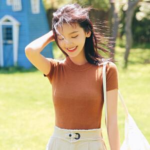 AGECENTRE 2018新款圆领短袖针织t恤上衣女薄简约百搭纯色修身打底