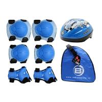 儿童溜冰鞋护具六件套018安全头盔B2儿童专业轮滑包 蓝色套装L码护具8-12岁/头盔L码