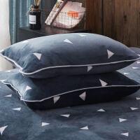 珊瑚绒枕套一对大号枕皮法兰绒法莱绒情侣冬季加绒厚保暖 48cmX74cm