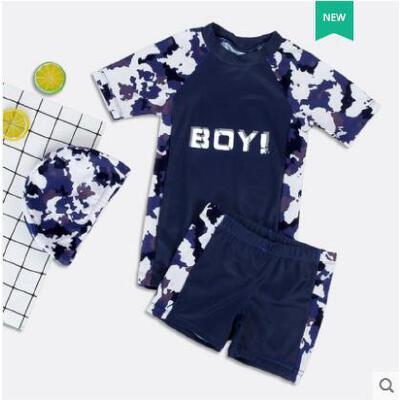 儿童泳衣男童分体泳裤套装男孩中大童长袖游泳衣青少年游泳装备 品质保证 售后无忧