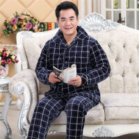 冬季夹棉睡衣男士三层保暖加厚钻石绒休闲长袖家居服套装 图片色