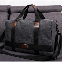 七夕礼物帆布旅行包男手提行李包出差健身包短途旅游包大容量可折叠运动包 黑色 大