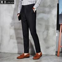 九分西裤男士冬季韩版修身小脚休闲裤男青年潮流英伦小直筒长裤子 黑色 长裤款