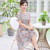 妈妈装夏装雪纺连衣裙中长款40-50岁中年女装高贵短袖裙子中老年