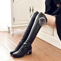 靴子女秋款2017新款百搭长筒过膝弹力靴韩版冬季长款高筒加绒长靴