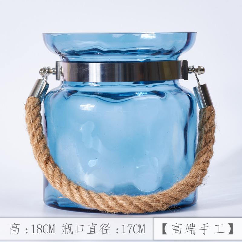 玫瑰花水培玻璃花瓶蓝色插花客厅装饰花瓶装饰现代简约北欧式花器  中等 发货周期:一般在付款后2-90天左右发货,具体发货时间请以与客服协商的时间为准