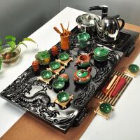 【品牌热卖】茶具套装四合一浮雕冰裂功夫茶具四合一自动上水电磁炉实木茶盘双龙戏珠套装 浮雕冰裂四合一 35件