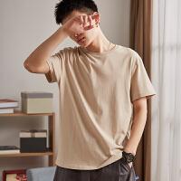 【直降价49元叠加200-40】唐狮t恤男短袖夏季新款纯色圆领男装修身纯棉韩版潮流打底衫