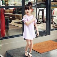 亲子装2018春夏新款韩版中小童童裙女童短袖露肩条纹连衣裙母女装
