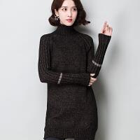 高领毛衣女套头中长款韩版20新款秋冬厚淑女宽松长袖针织打底衫