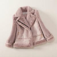 冬季�和�棉衣男女童皮衣皮毛一�w外套仿皮草加�q保暖厚