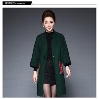新品中老年女装外套40-50岁中长款妈妈装大衣 纯色中老年妈妈装大