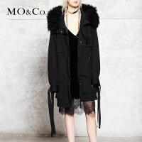 MOCO冬季大毛领加厚外套女中长款棉衣棉服MA173COT502 摩安珂