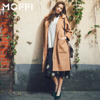2017冬季新款欧美风女式中长款毛呢外套显瘦潮流风衣呢大衣 卡其色