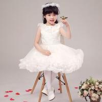女童公主裙 儿童演出礼服蓬蓬白色裙夏 白色