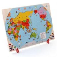 拼图儿童节礼物中国世界地图拼图儿童男孩女拼装木质4-5-8-3-6周岁早教玩具 早教益智玩具拼图玩具