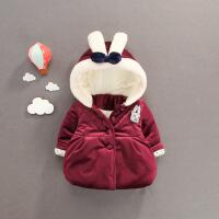 冬装婴儿宝宝金丝绒棉衣小童中长款棉袄女1-3岁加厚保暖韩版