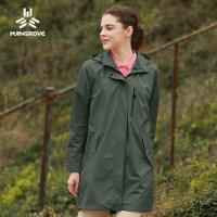 冲锋衣女单层防水透气中长款外套薄款女冲锋衣登山服女