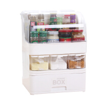 家用多功能调料收纳盒厨房用品整理储物箱抽屉式分类调料收纳柜子 白色