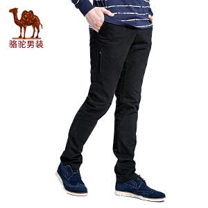 骆驼男装 秋季新款无弹中腰修身小脚男青年纯色休闲裤