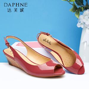 达芙妮/杜拉拉 夏季 女鞋 纯色坡跟PU鱼嘴女凉鞋