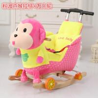 儿童摇马木马婴儿玩具宝宝拉杆摇椅实木摇摇车带音乐两用周岁礼物