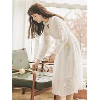 白色雪纺连衣裙秋装2019新款女韩版显瘦复古法式气质长袖中长裙子
