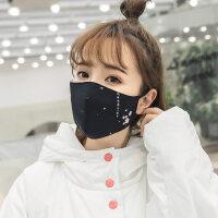 日本口罩女纯棉防尘透气秋冬季防寒雾霾口造罩黑色个性口覃口鼻罩