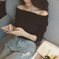 韩观韩国一字领露肩上衣短款性感打底衫女长袖秋冬毛衣小衫修身针织衫 均码