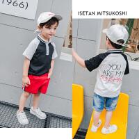 2018夏款新品男童短袖衬衫儿童黑白拼色立领衬衣宝宝纯棉短袖衫潮