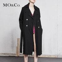 MOCO新品翻领可调节腰带破洞中长款牛仔外套MA181TRC401