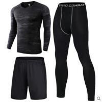 户外新品健身房套装男士晨跑篮球足球装备紧身衣训练服运动跑步服