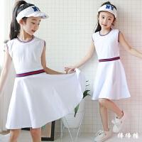 六一儿童节表演出服夏装韩版女童学院风无袖连衣裙时尚运动休闲裙