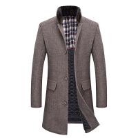 毛呢大衣男中长款加厚韩版2017新款青年修身呢子外套中年妮子冬装 卡其 170