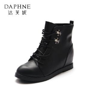 Daphne/达芙妮 秋冬短靴女圆头舒适百搭内增高女短靴-1