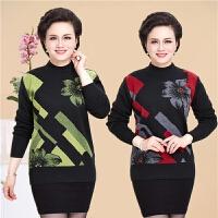 中老年女装秋冬羊毛衫半高领套头毛衣中长款加厚打底衫妈妈装上衣