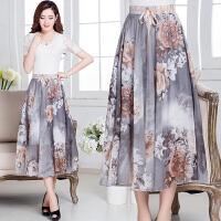 春季新款半身长裙 拖地波西米亚沙滩裙8米大摆印花雪纺半身裙