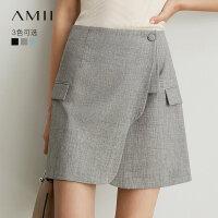 【折后价:123元/再叠300-30元券】Amii极简法国个性半身裙2019秋季新款不规则设计感小A西装短裙