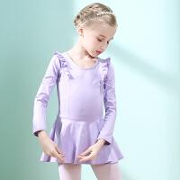 儿童舞蹈服装练功服秋季长袖女童拉丁舞服装纯棉民族舞蹈裙跳舞服