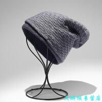 黑色男士毛线帽子 加绒加厚保暖冬季 护耳东北韩版百搭纯色双层 浅灰色 L(58-60cm)