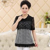 中老年韩版蕾丝雪纺衫女士短袖t恤中年女装妈妈装春夏装女式小衫