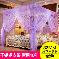 蚊帐1.8m床双人家用1.5m/1.2米床纹帐公主风落地支架加密加厚文帐 i5o