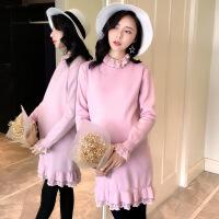 孕妇装年秋季时尚潮流韩版气质优雅纯色宽松舒适蕾丝连衣裙甜美可爱
