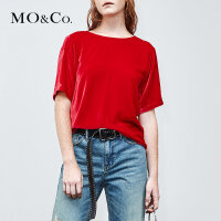 MOCO夏季新品个性铆钉露背丝绒圆领上衣MA182TOP102 摩安珂