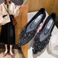 新款浅口女士鞋子学生百搭亮片瓢鞋 韩版平底女豆豆鞋新款尖头单鞋女