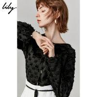 【不打烊价:177元】 Lily2019秋新款女装流苏宽松显瘦气质黑上衣长袖雪纺衫衬衫8941