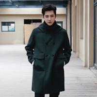 秋冬季青年中长款风衣男士韩版修身毛呢大衣男装呢子加厚外套男潮 墨绿 M